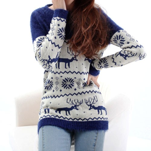 warm sweet deer snowflake print mohair sweater-f78100