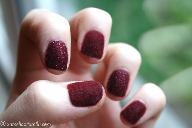 Burgundy Flocking Nails