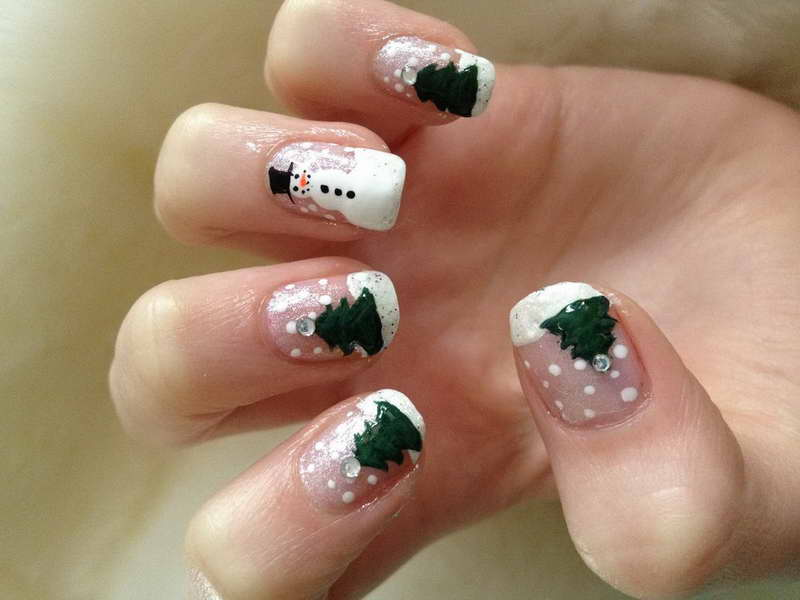 Christmas-Nail-Art-Designs-Doll-With-Snow