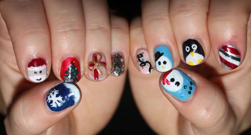 Christmas-Nail-Art-Designs-Motif-Doll-With-Snow