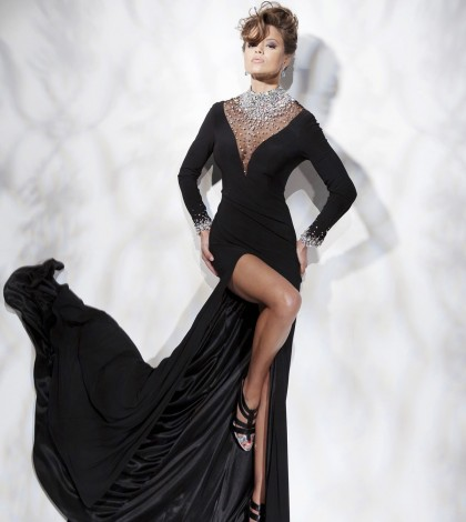 attractive_sheathcolumn_high_neck_long_sleeves_rhinestone_sweepbrush_train_chiffon_dress