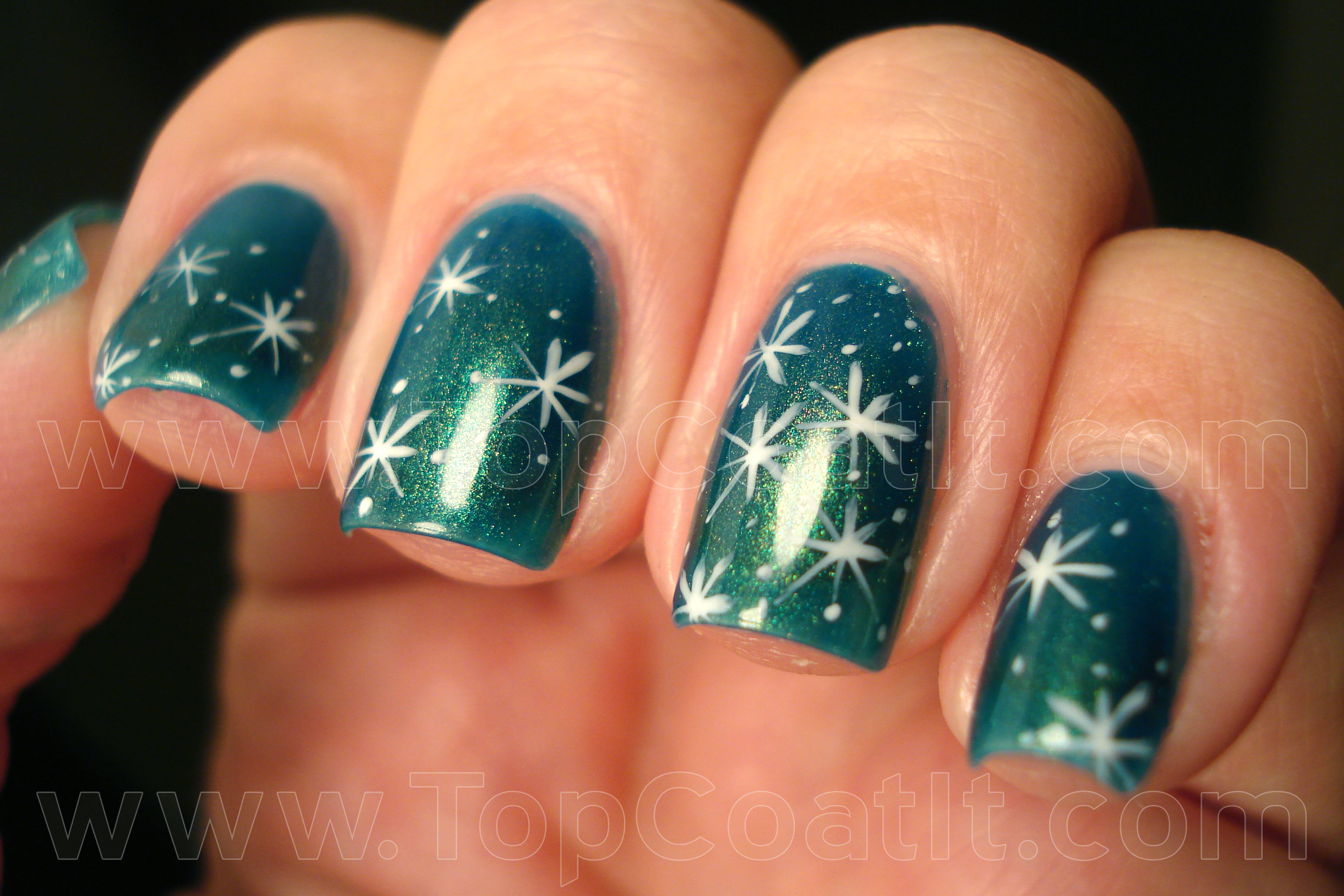 Let it snow on your nails 20 snowflake nail arts source snowflake 3 wlcopy prinsesfo Image collections