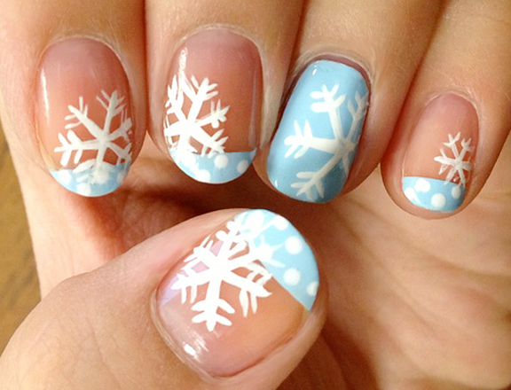 let it snow on your nails 20 snowflake nail arts. Black Bedroom Furniture Sets. Home Design Ideas