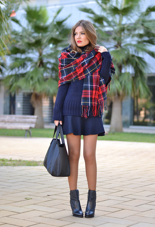 excellent outfit bufanda azul style