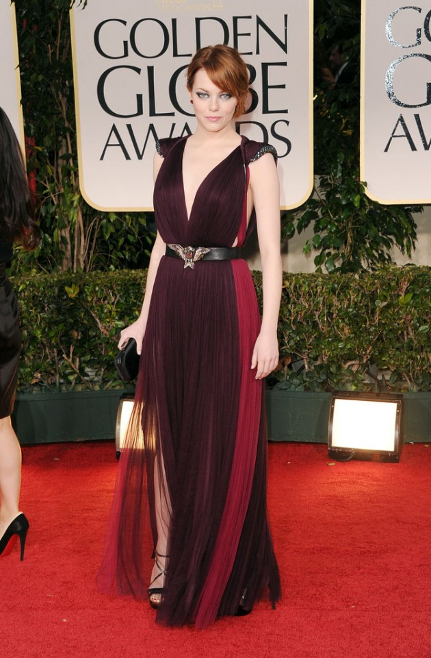Emma-Stone-channeled-dark-glamour-2012-Golden-Globes-red-carpet-two-toned-Lanvin-gown