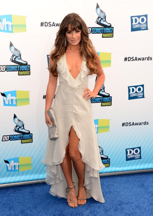 Lea-Michele-took-plunge-literally-deep-V-ruffled-neckline-dress-courtesy-Giorgio-Armani