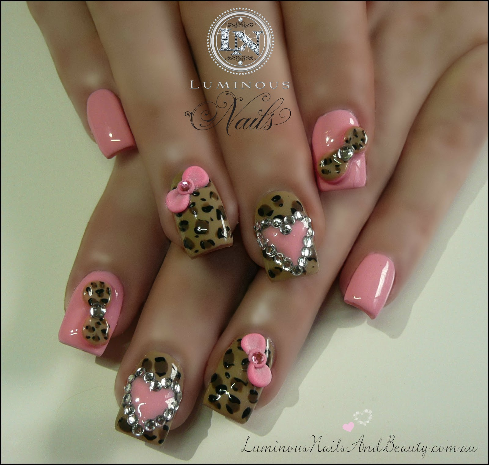acrylic nail designs pink cheetah ~ hot pink and black animal