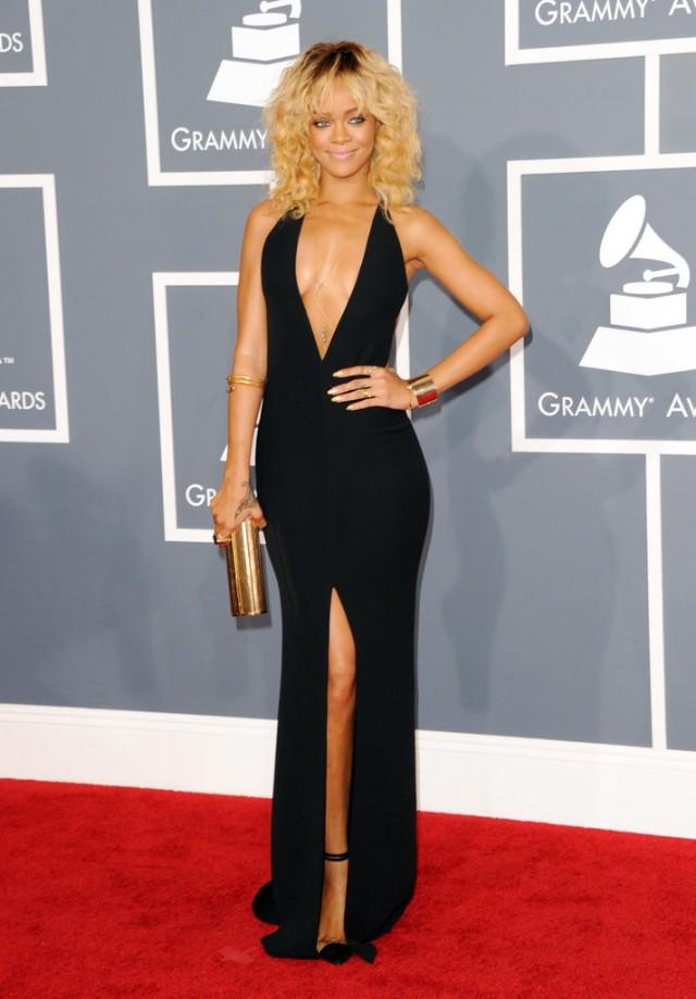 Rihanna-set-Grammys-red-carpet-fire-sexy-black-Giorgio-Armani-gown-plunging-neckline-thigh-high-slit