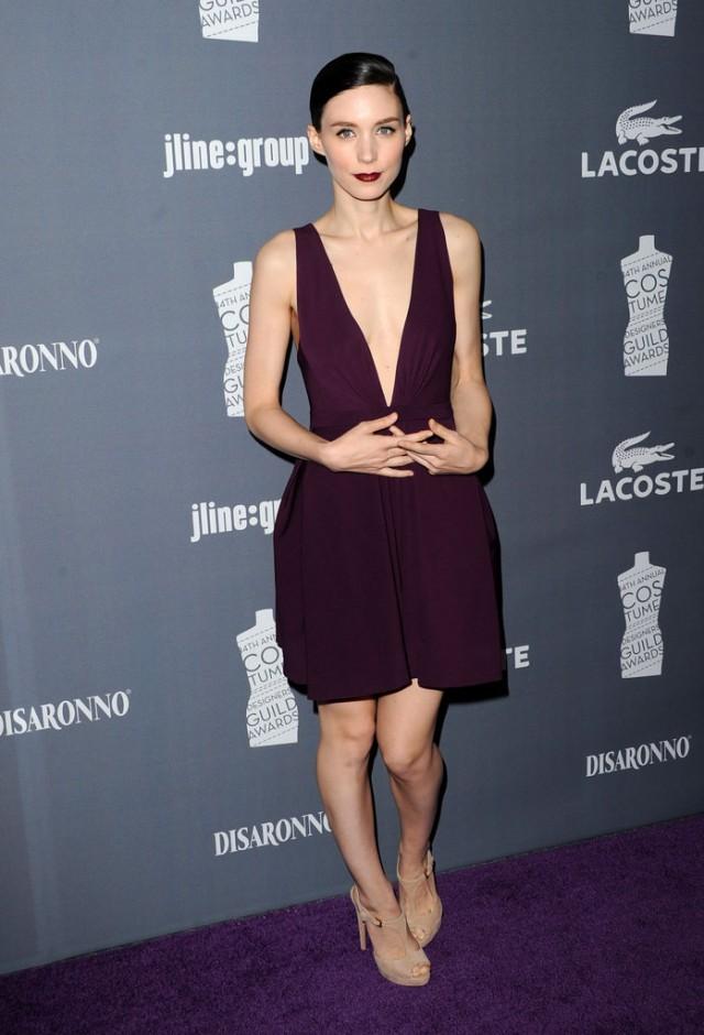 Rooney-Mara-took-modern-approach-elegance-low-cut-plum-hued-dress