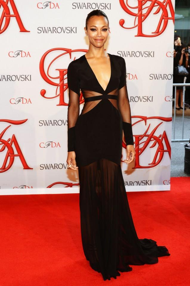 Zoe-Saldana-all-out-breathtaking-black-Prabal-Gurung-gown-sheer-cutouts-2012-CFDA-Fashion-Awards