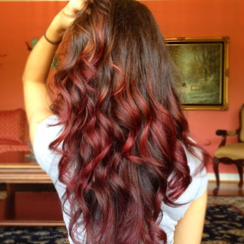 Ombre Hair Coloring Brown Hair With Red Tips Tumblr