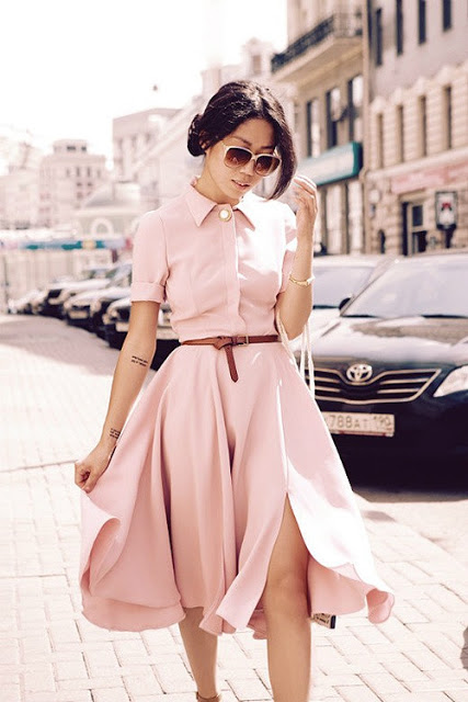 shirt dress+pink+leather belt+street style+fashion+trends+vestido camisero+tendencias+moda