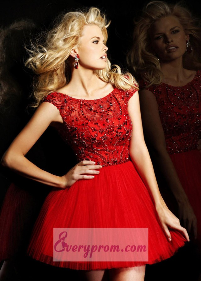 2014 Red Off Shoulder Pleated Tulle Party Prom Dress