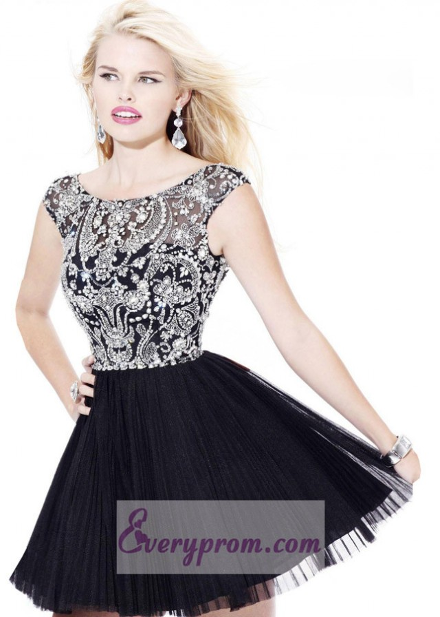 Black And White Off Shoulder Pleated Tulle Mini Dress