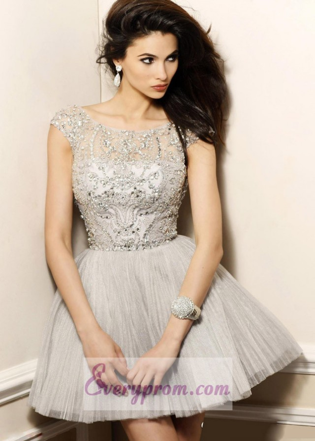 Cheap Nude Beaded Off Shoulder Homecoming Dress