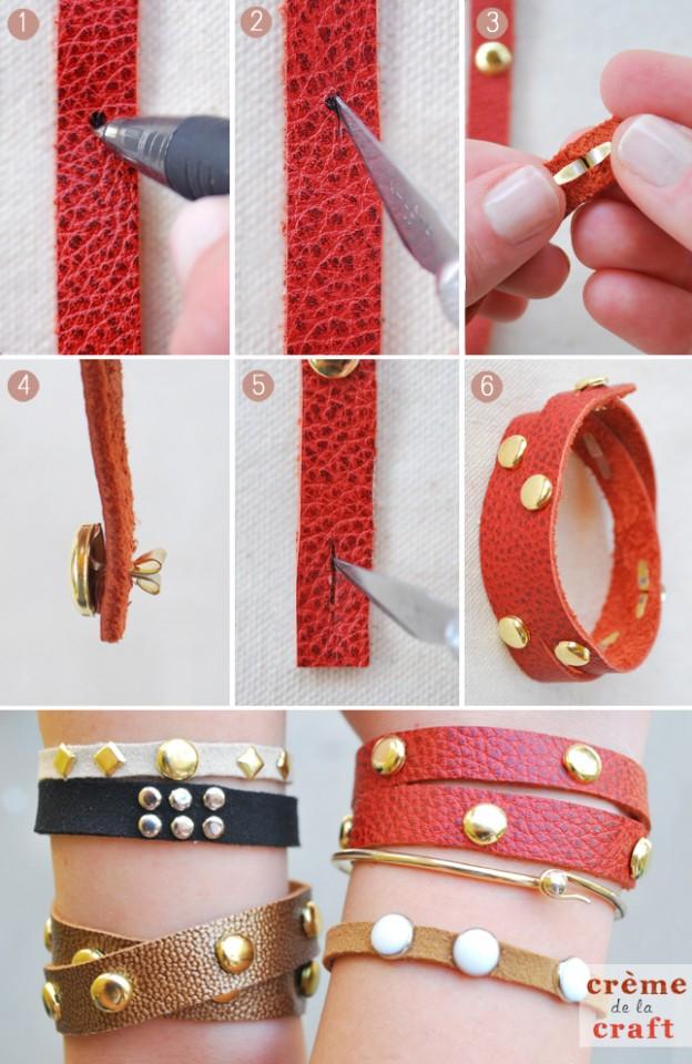 Craft-DIY-Project-Idea-Leather-Studded-Studs-Gold-Bracelet