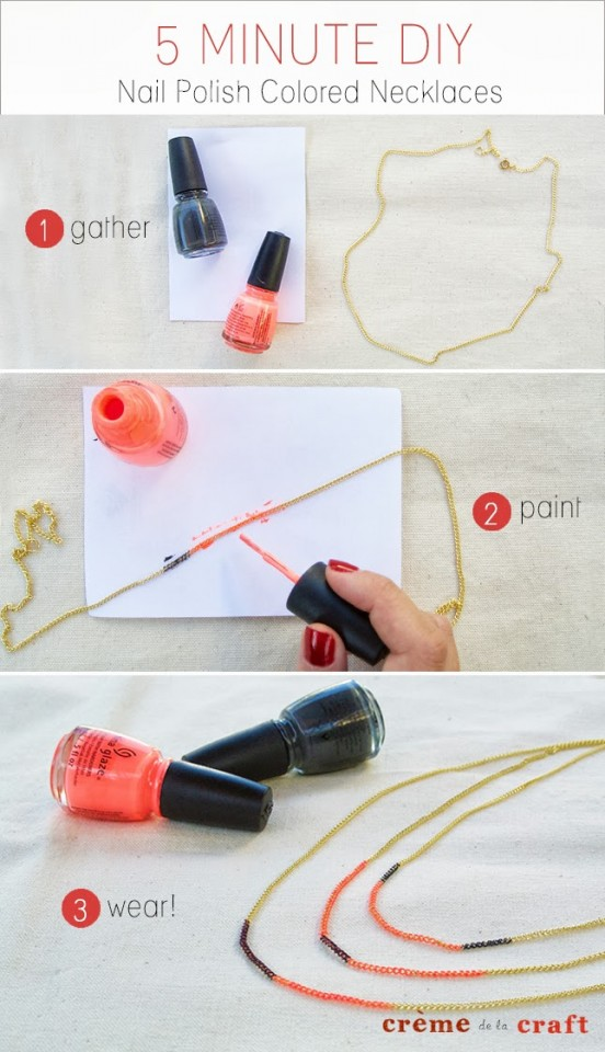 DIY-Craft-Project-Idea-Nail-Polish-Colored-Painted-Necklace-Jewelry-Quick-Easy