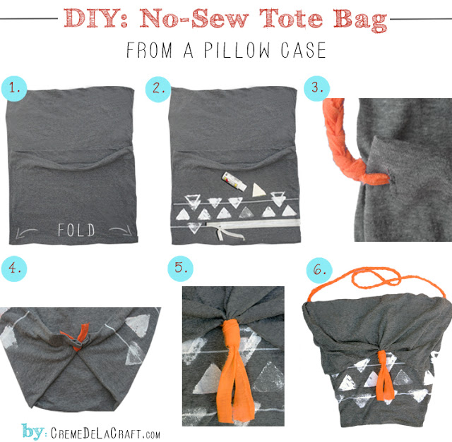 DIY Project Pillow Case Tote Market Grocery Bag