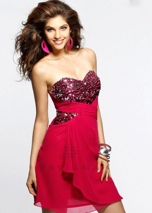 Hot Pink Sequin Top Strapless Open Back Prom Dress