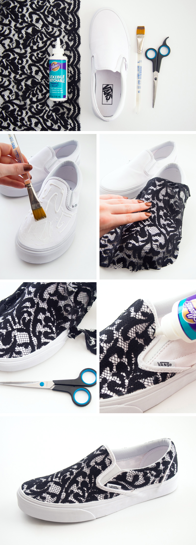 DIY Lace Covered Sneakers