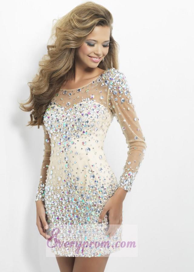 Long Sleeves Nude Crystals Sheer Short Dress With Deep V Back