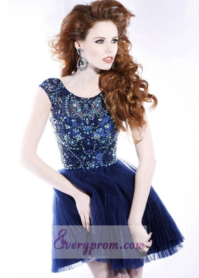 Off Shoulder Navy Beaded Pleated Party Prom Dress