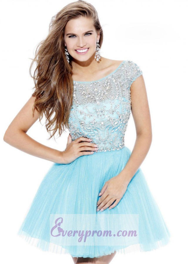 Open Back Off Shoulder Pleated Light Blue Short Dress