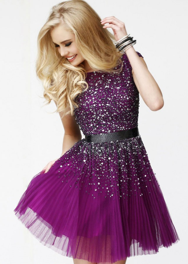 Purple Beaded Short Prom Dress With Open Back