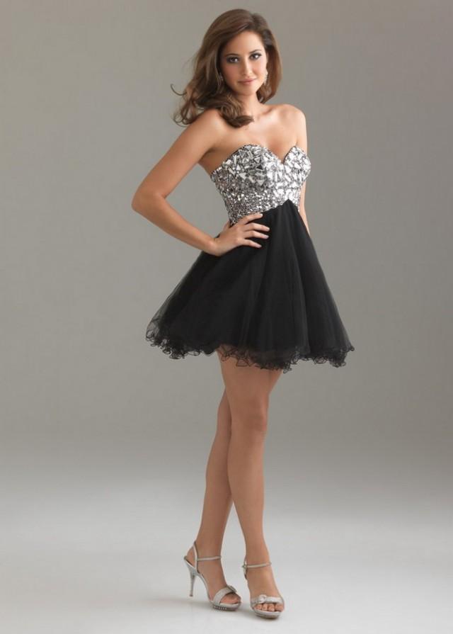 Short Strapless Rhinestone Top Black Prom Dress