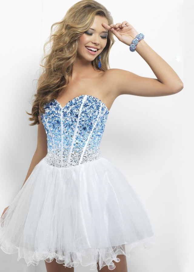 Strapless Layered White Mini Dress With Ombre Blue Jewels Top