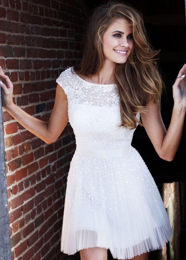 Sweet White Mini Dress With Sheer Overlay Cheap