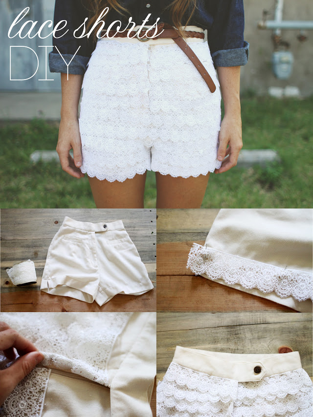 lace shorts diy urban outfitters inspired
