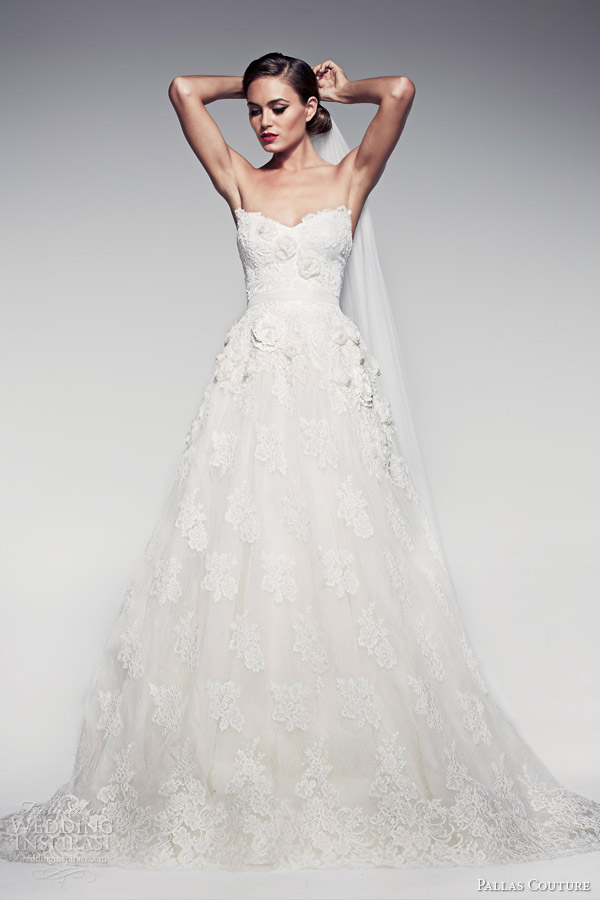pallas-couture-bridal-2014-fleur-blanche-cappucina-lace-strapless-wedding-dress