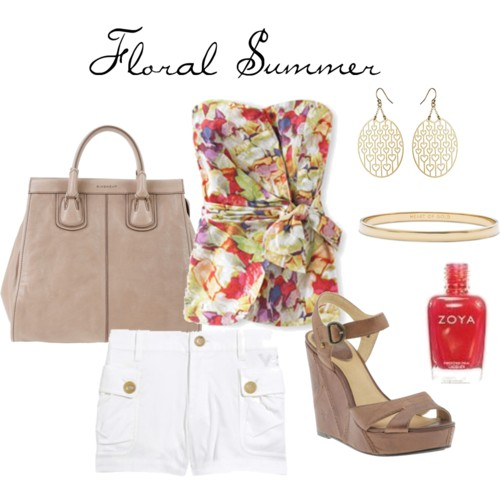 Polyvore - Floral Summer - White Shorts