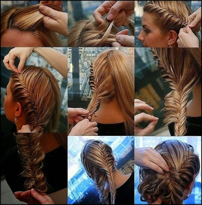 french braid-fishtail braid updo