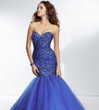 Dazzling Royal Long Strapless Beaded Mermaid Prom Dress 2014