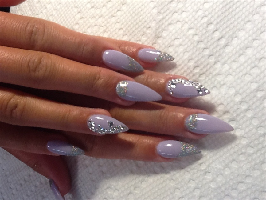 Purple rhinestone nails