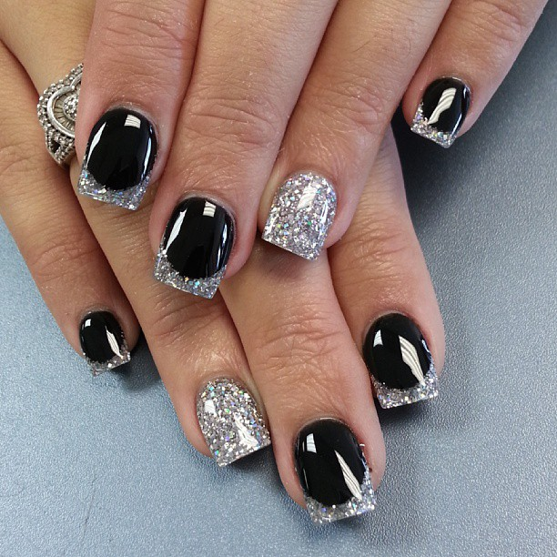 Nail Designs with Black and Silver