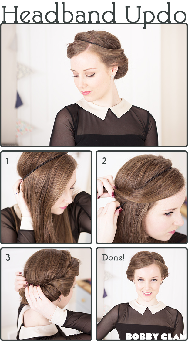 50 Beautiful Updo Hairstyles. Updo with a Headband Add a subtle dash of flair to any updo with a cute ribbon. 20 Cute Hairstyle Ideas for Short Curly Hair Skip Ad. Advertisement - Continue.