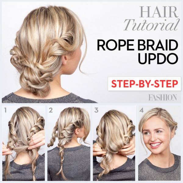 15 fancy up do tutorials rope braid up do solutioingenieria Gallery