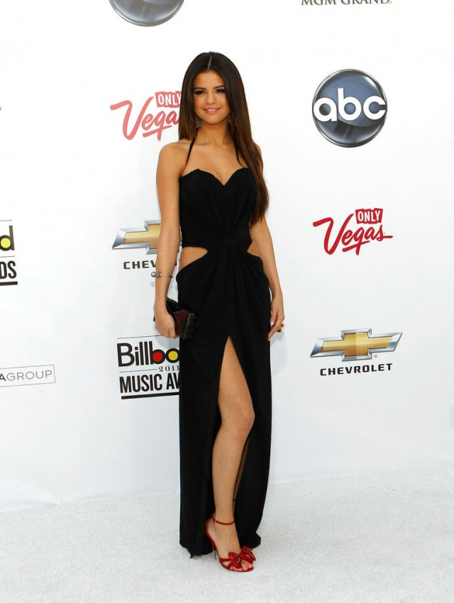 Chiffon Halter High Slits Spaghetti Selena Gomez Sexy Cut Out Black Prom Dress