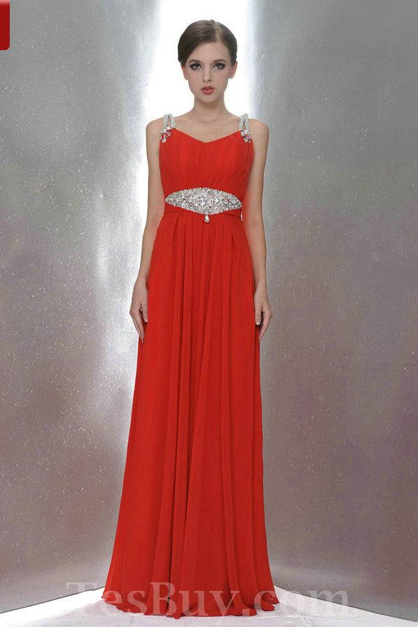 Full Length Beaded Straps Elegant Red Bridesmaid Dress 2012