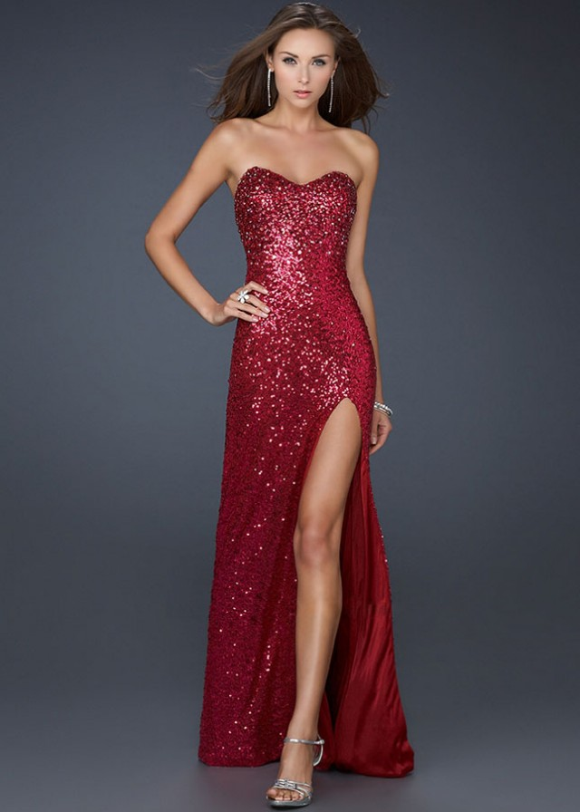 Full Sequins Red Strapless Evening Gown With Slit