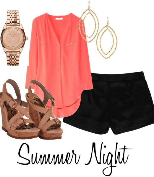 How-Amazing-Is-This-Coral-Top-Love-The-Whole-Polyvore-Outfit-Especially-The-Brown-Wedges-Paired-With-The-Black-Shorts.-Cant-Wait-For-Summer-Nights