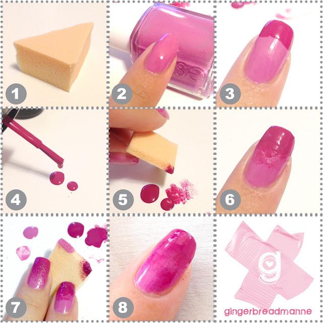 Diy sponge nails shades of pink nail art spongingmini solutioingenieria Images