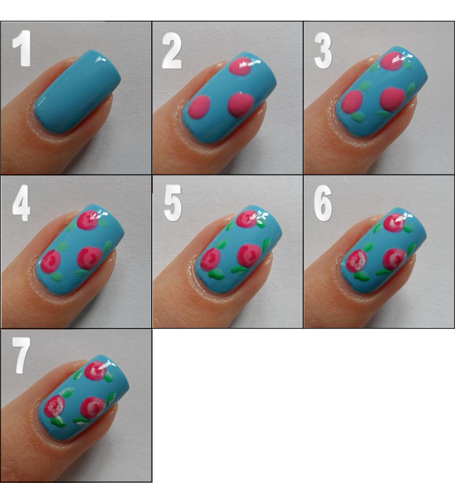 Rose Nail Art Tutorial: Lovely Step By Step Nail Tutorials