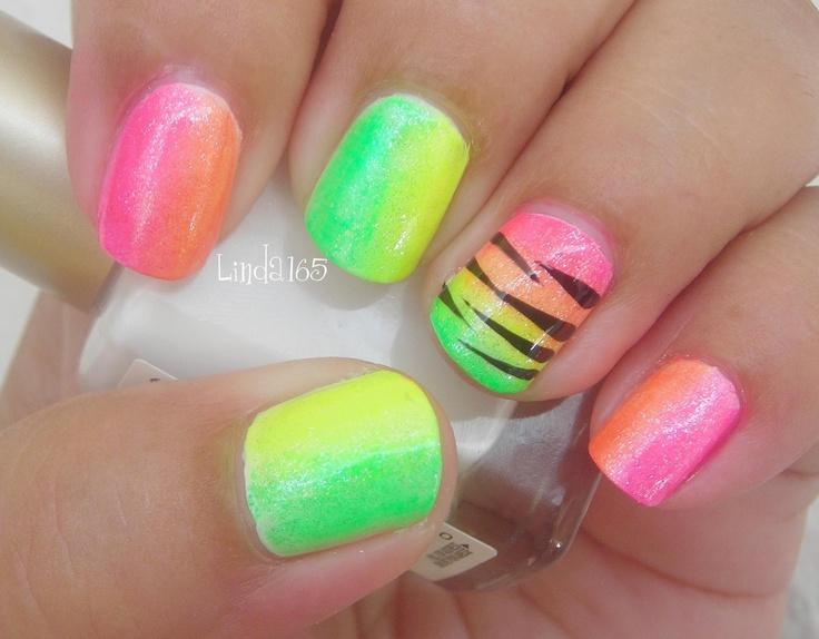 15 trendy neon nail designs. Black Bedroom Furniture Sets. Home Design Ideas