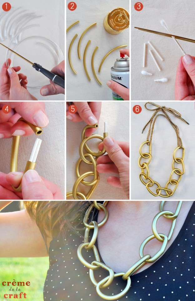 DIY-Gold-Chain-Link-Necklace-Jewelry-Spray-Paint-Tubes-Upcycle