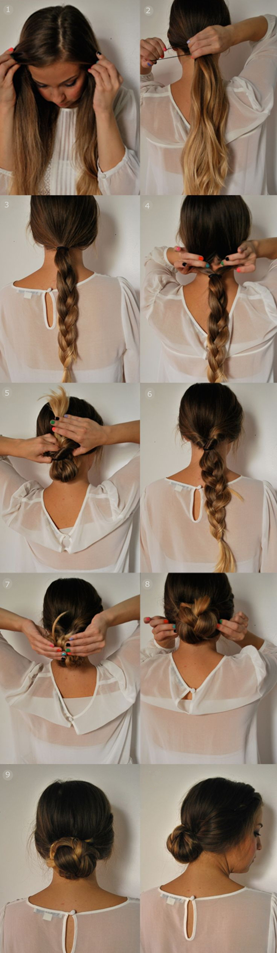 braided-ponytail-updo-tutorial-by-clip-in-22-inch-brown-ombre-color-human-hair-extension-for-short-hair