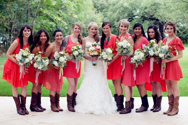 bright-coral-bridesmaid-dresses-with-cowboy-boots